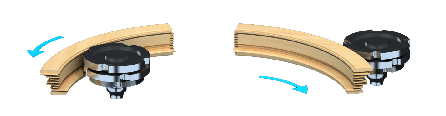 Curved Wood Window Sash Components machined by ARCUS Arched Window and Door Jointing Machine