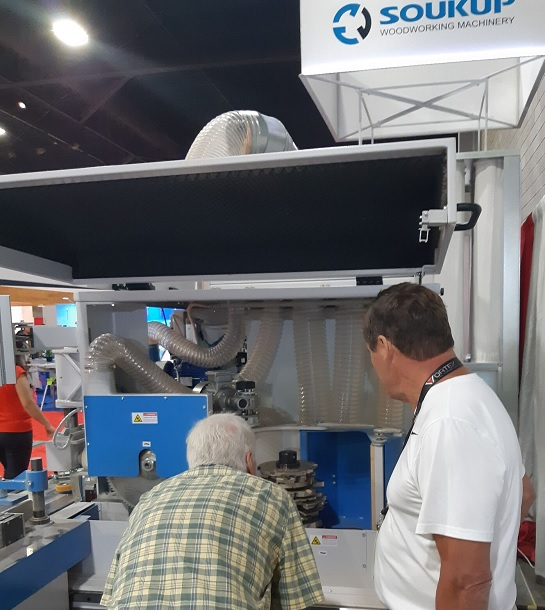 Inspecting Tenoning Spindle on Crafter at IWF 2018