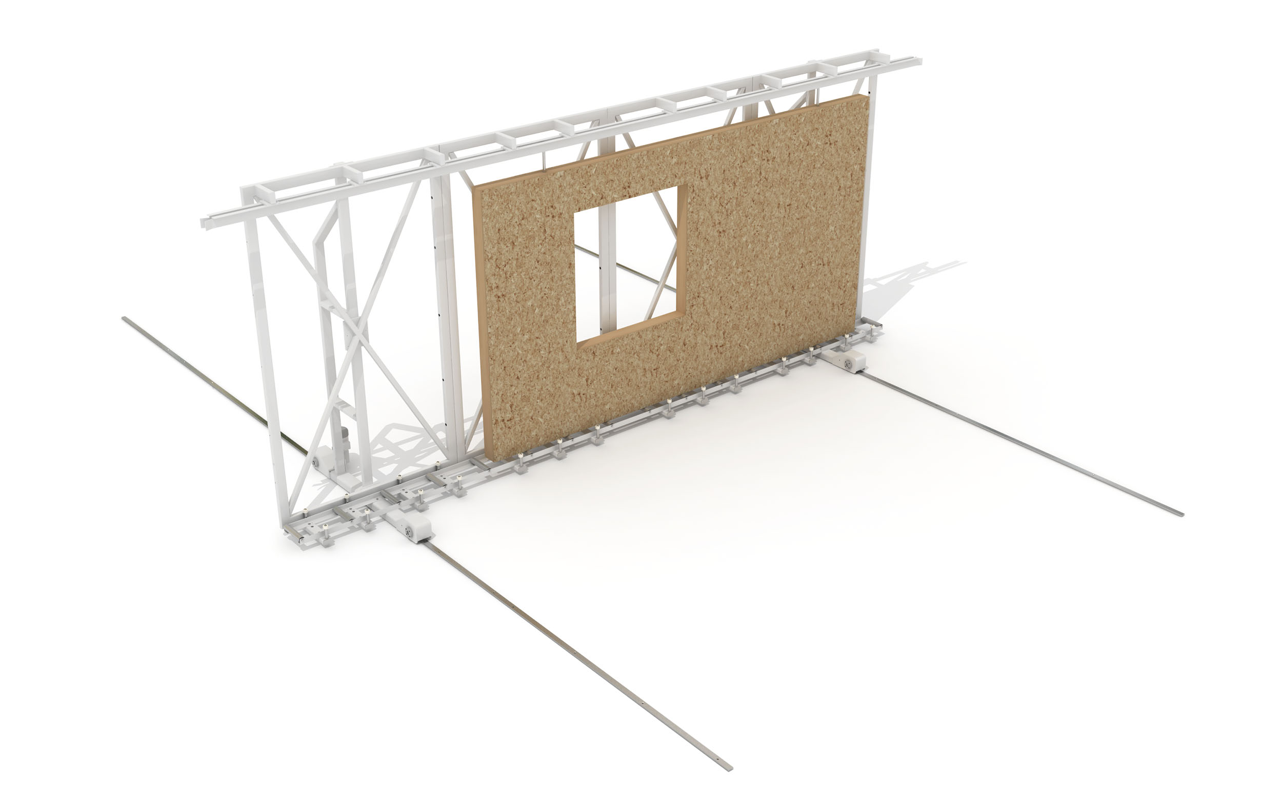 Motorized Vertical Panel Transporter for Semi Automated Off-Site Building Production