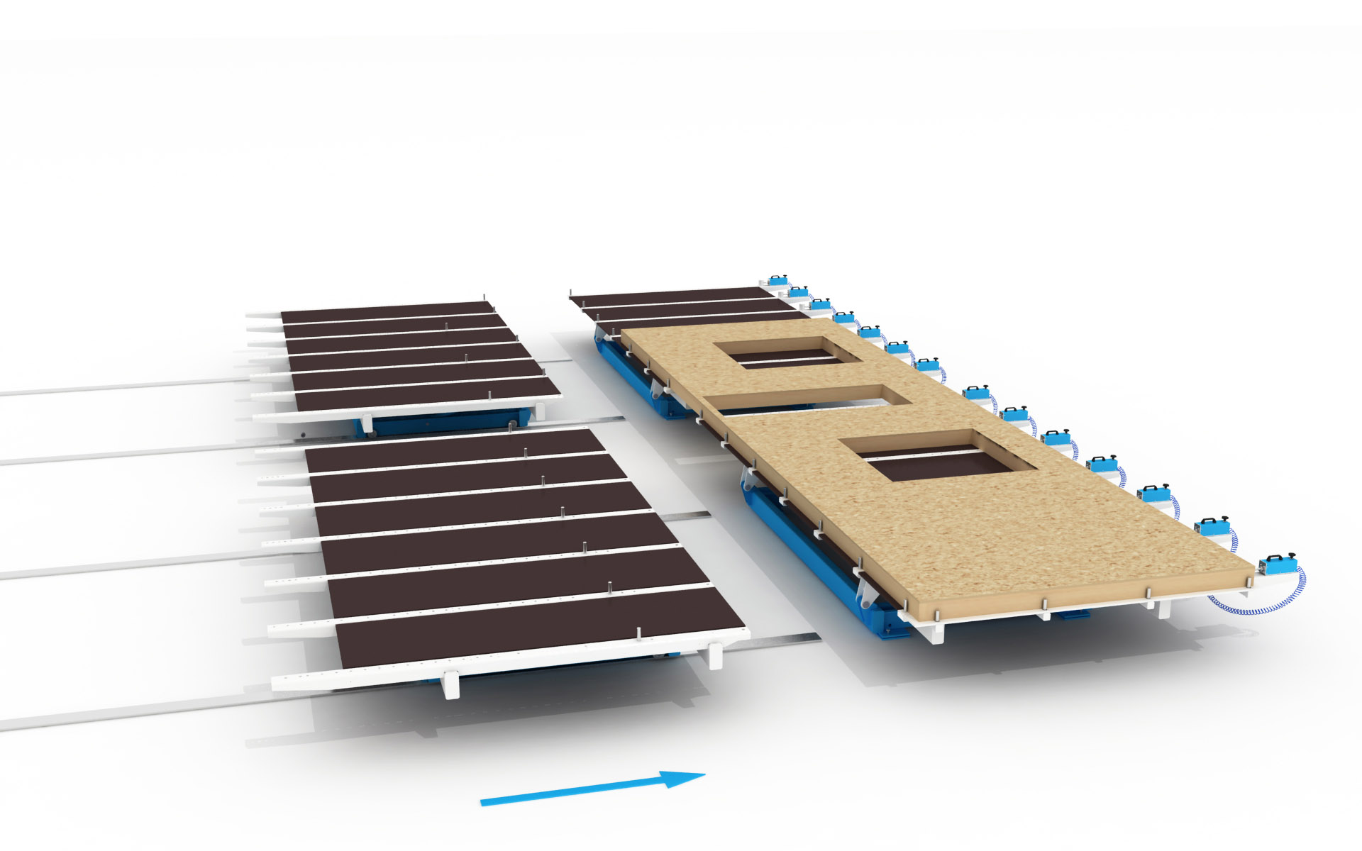 Diagram of WING Butterfly Lifting Table flipping Prefabricated Wall Panels