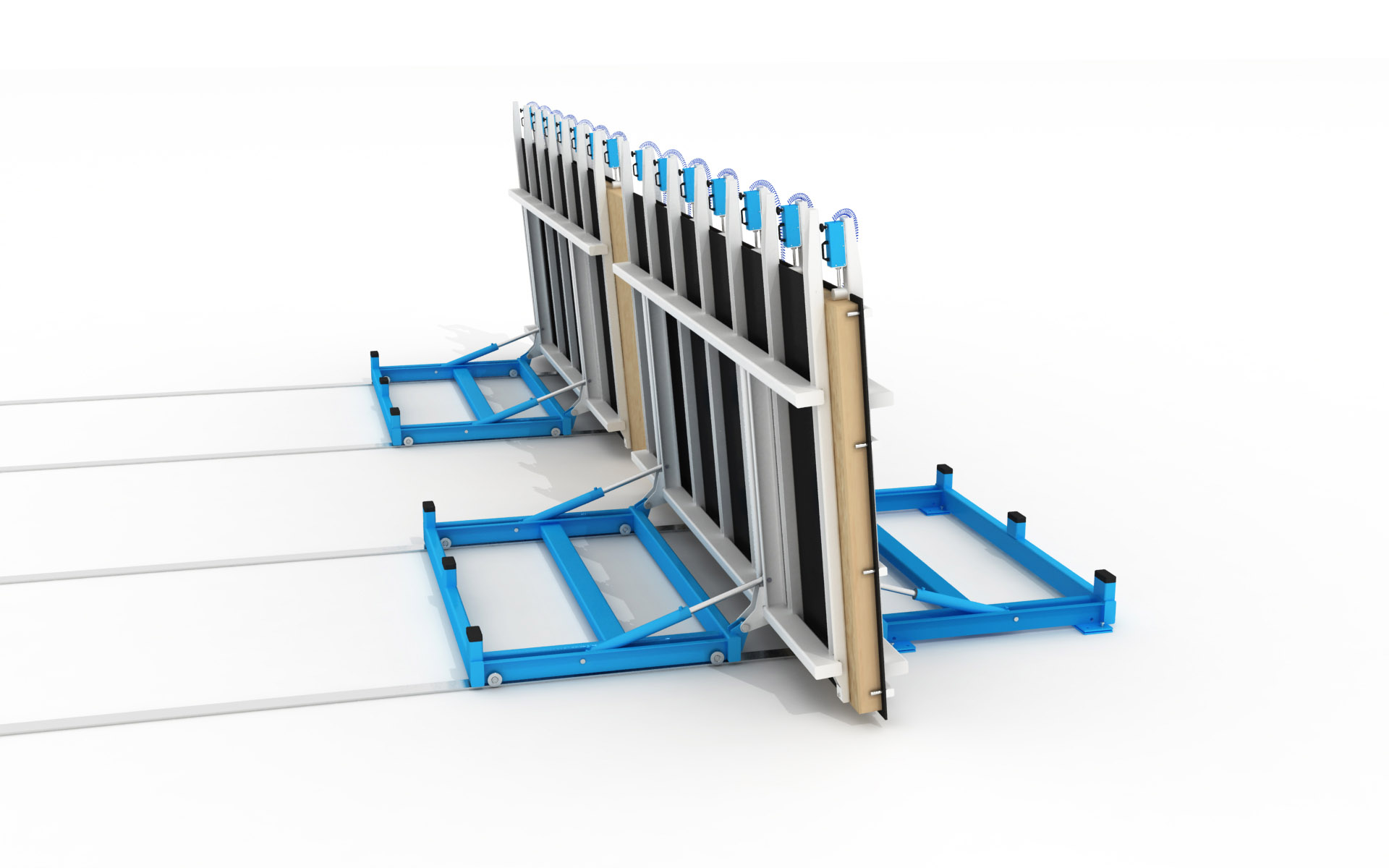 WING Hydaulic Butterfly Lift Table at Apex of Panel Flipping Cycle