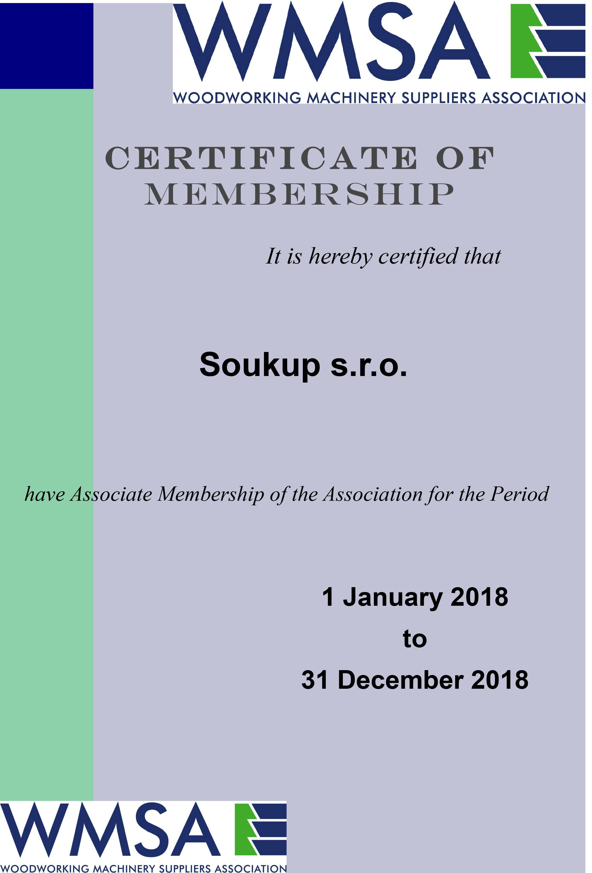 WMSA Certificate of Membership